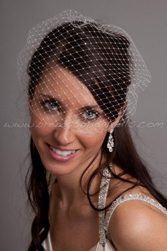 Swarovski Rhinestone Accent Bandeau Birdcage Veil, Wedding Veil, Bridal Veil