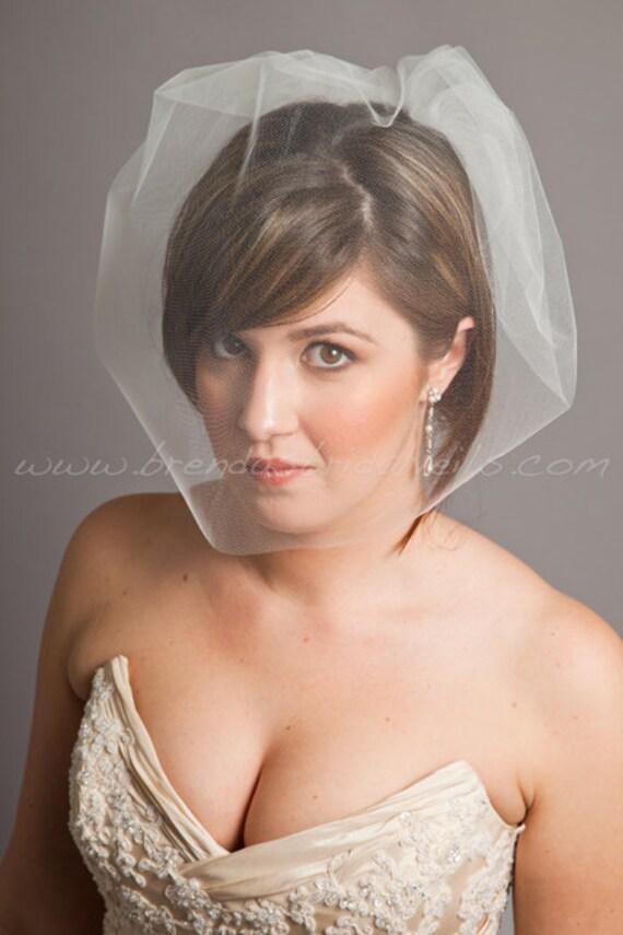 Tulle 17 Inch Bridal Birdcage Veil, Tulle Birdcage Blusher Veil