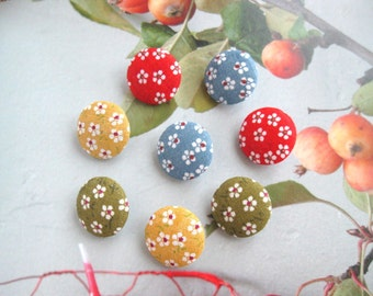 Fabric Buttons, Blue Red Green Yellow Small Floral Flower Fabric Covered Button, Colorful Floral Fridge Magnets, Flat Backs, CHOOSE SIZE 8's