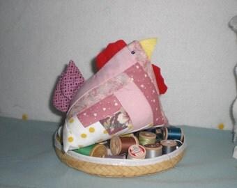 Pink Pincushion,Patchwork Pincushion Chicken, Eco friendly Pincushion