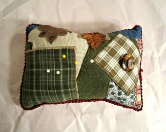 Handmade Pincushion Patchwork and Applique pincushion Mini Pillow.