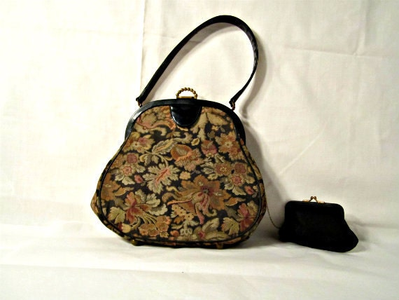 Handbag with Change Purse Floral Upholstery fabric with Patent Leather Handle and details