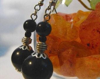Black Silver Earrings Black Stripe Coil