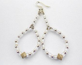 Long White Silver Earrings