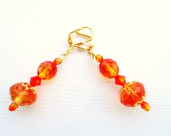 Orange Crystal Earrings Fire Opal Swarovski Crystals