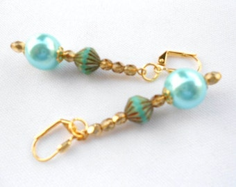 Turquoise Blue Glass Pearl Earrings Fluted Picasso on Gold