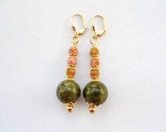 Olive Green Earrings, Unakite Earrings. Coral Earrings, Leverbacks, Ladies Earrings, Green Coral Earrings, Free Ship USA, Gift for Her,