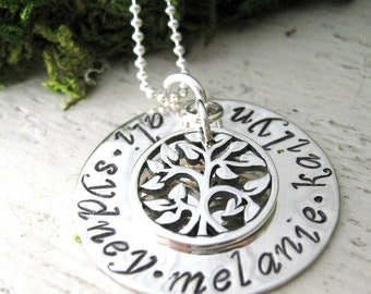 Family Necklace - Love All Around Family Tree - hand stamped necklace -mothers jewelry