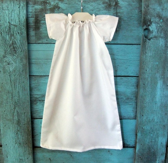 Baby Baptism Dress Pure White Or Ivory Cotton Simple Shiloh