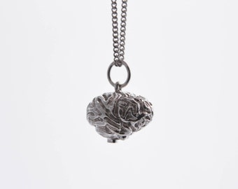 Brain necklace in solid sterling silver - human organ / anatomy / anatomically correct
