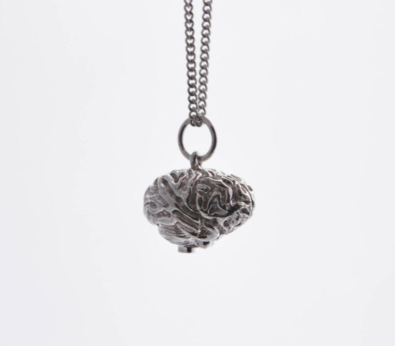 Brain necklace in solid sterling silver from the 'A Little Extra Anatomy' range