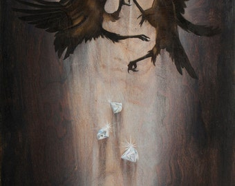 Scavenge the Riches, Open Edition fine art print - fighting crows, ravens, birds, diamonds, conflict