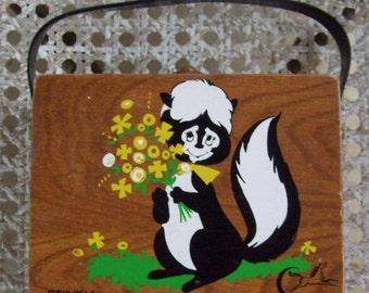 "Rare vintage Enid Collins of Texas ""Stinky"" skunk wood box purse or handbag"