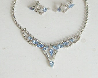 Vintage blue and clear rhinestone necklace and earrings silver tone bridal jewelry set