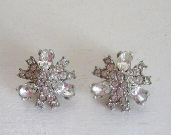 Vintage Hollycraft clear rhinestone earrings designer signed atomic star-burst bridal wedding jewelry silver tone