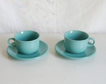 Vintage 1950s Montgomery Ward Color Connection blue green aqua teal pair coffee tea cup and saucers 2 sets large modern farmhouse