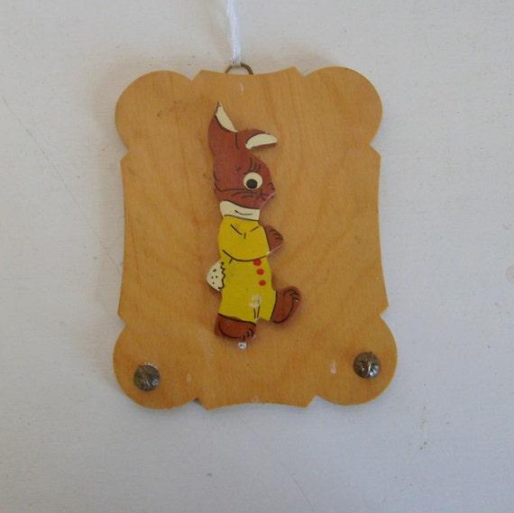 Vintage folk art Easter bunny or rabbit in yellow romper wall hook wood hand made nursery folk art modern farmhouse decor