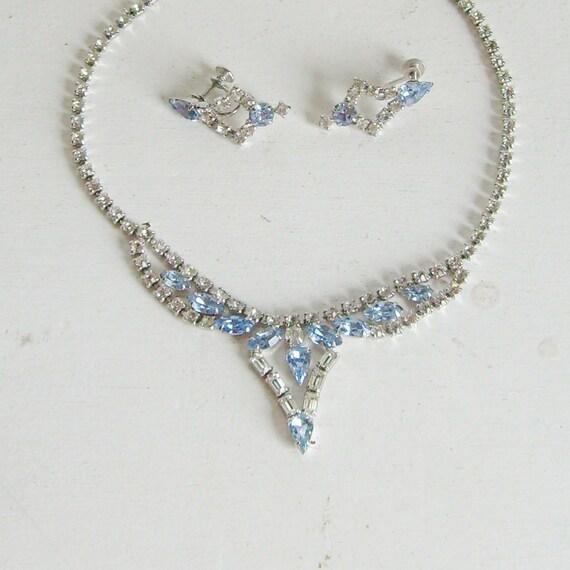 Vintage bridal rhinestone necklace and earrings set blue rhinestone jewelry set clear rhinestone necklace blue rhinestone necklace