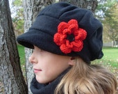 Best black satin lined fleece winter hat for women - custom colors - winter hats - ladies  hat with flower - free shipping - MADE TO ORDER