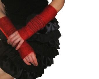 Red  Fin Mohair Long Arm Warmers - Fingerless Gloves - Warm Soft