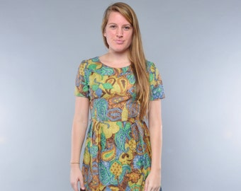 Vintage 60's Day Dress / Floral Paisley Print / Cotton Boatneck Dress / S M / Handmade