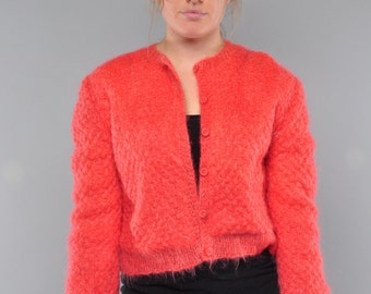 Vintage Mohair  Sweater . Coral Popcorn Knit Cardigan . M L XL
