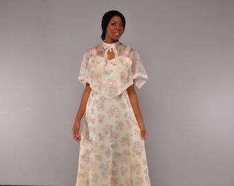 Vintage Sheer Floral Maxi Dress // 70's Prom Dress // Capelet // M