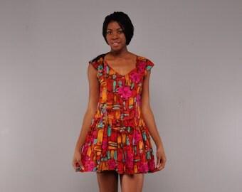 Vintage Rayon Mini Dress // Bold Print Sundress // Drop Waist Dress // M L