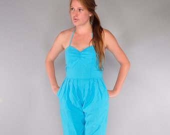 Vintage Turquoise Cotton Jumpsuit // 80's Sweetheart Halter Bodice // Cropped Jumpsuit // M