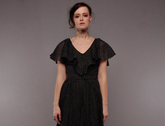Vintage Black Polkadot Maxi Dress // Sheer Ruffle Party Dress // S // Lilli Diamond
