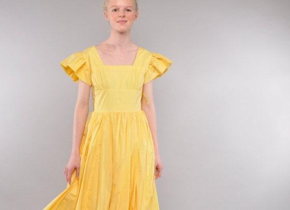 Vintage Yellow Dotted Swiss Maxi Dress // Ruffle Sleeve Sundress // Full Skirt // XS S