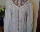 Vintage 70s White Lacy Blouse M