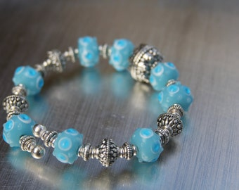 CLEARANCE - Handmade Pewter and Turquoise Lamp Work Bangle