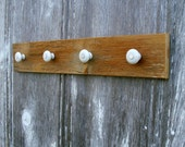Peg Rack of Antique Barn Wood with Porcelain Knobs