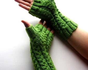 Fingerless Gloves Asparagus Green Hand Knit