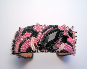 bead embroidered bracelet pink and black beaded cuff beaded bracelet seed bead bracelet bead bracelet