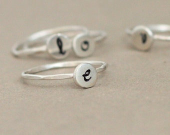 personalized initial ring. sterling silver monogram stacking RING. hand stamped letter. custom initial jewelry. eco friendly.