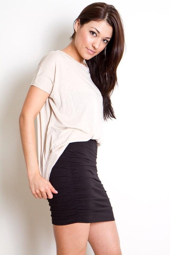 Black Mini Skirt Womens Fitted Skirt Body Con Ruche Side