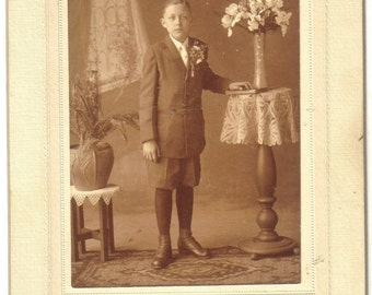 Vintage Sepia Tone Photograph, Picture of Young Boy, Antique Photo  (143-10)