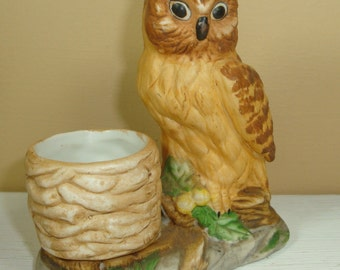 Vintage Owl Toothpick Holder Ceramic, Kitchen Decor, Golden Yellow  (271-11)