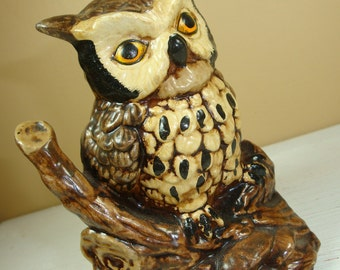 Vintage Ceramic Owl Figurine, Retro Home Decor, Orange Eyes, Rustic Cabin Decoration  (272-11)