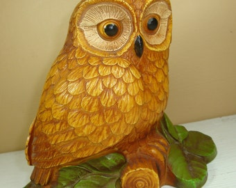 Vintage Golden Owl, Home Decor, Knicknack, Figurine, Wildlife  (273-11)