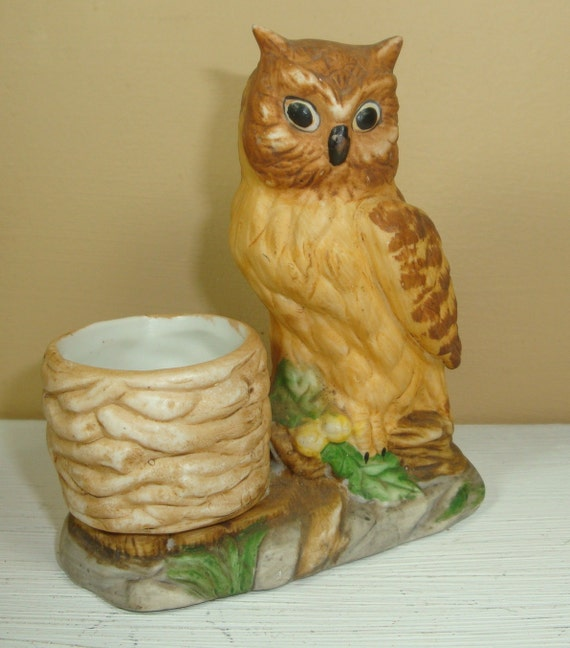 Vintage Owl Kitchen Decor: Vintage Owl Toothpick Holder Ceramic Kitchen Decor Golden