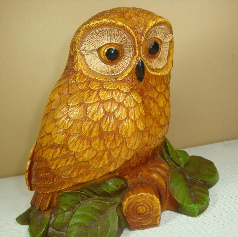 Vintage Golden Owl Home Decor Knicknack Figurine Wildlife