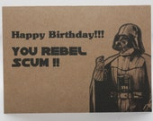 Darth Vader Birthday card and envelope - Star Wars - Geek birthday card - awesome