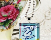 Easter Bunny Dancing- Hand Painted Glass Tile Pendant 1x1 inch