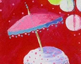 Original  ACEO Mini Painting * CUPCAKE And PARASOL * Art by Rodriguez * Dessert Series