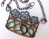Crystal Flower Box Copper Statement Necklace