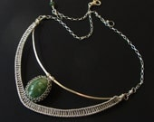 Sterling Silver & Green Gemstone Collar Hammered Netted Statement