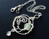 ENTWINED  Bright Sterling, Prehnite, Quartz Seafoam Green Gemstone Pendant Necklace
